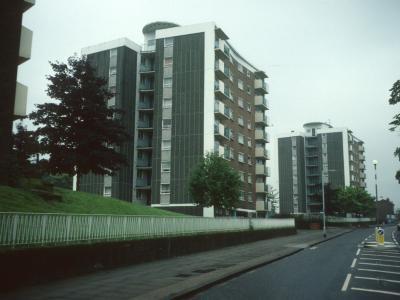 View of both 9-storey blocks looking South down Wood Vale