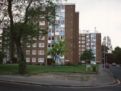 View of both Academy Gardens blocks from Lower Addiscombe Road