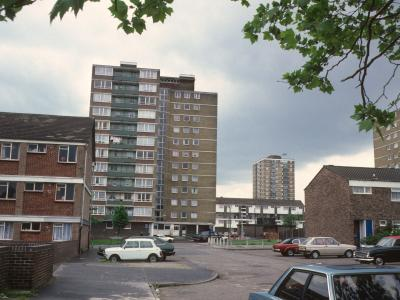 View of 12-storey block with Essex Tower in background
