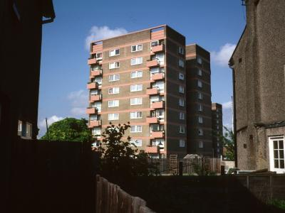 View of 9-storey block on Becton Place
