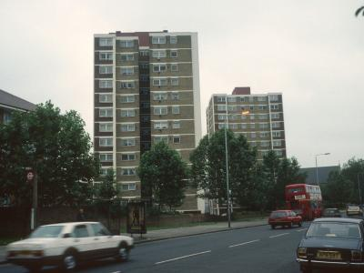 View of both 13-storey blocks, looking Southeast down New Cross Road