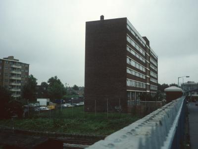 View of 8-storey block on Trundleys Terrace from footbridge