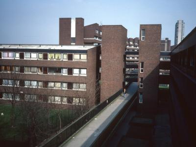View of Argosy House from 4-storey Crandley Court with Aragon Tower in background