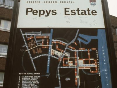 Map of Pepys Estate with Daubeney Tower in background