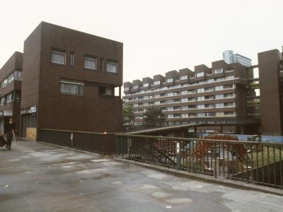 View of typical 8-storey blocks in Pepys Estate