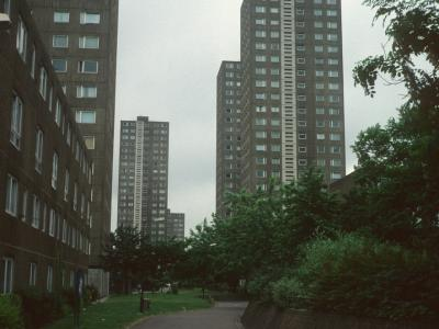 View of 24-storey and 15-storey blocks in Milton Court Estate