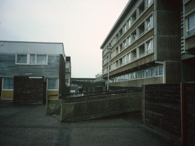 View of 6-storey block on Roundshaw Estate