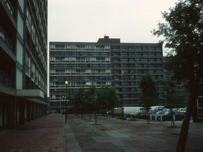 View of 11-storey block on Phipps Bridge Estate