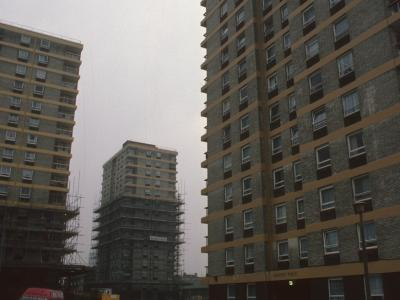 View of three 15-storey blocks on Fife, Totnes and Exeter Roads development