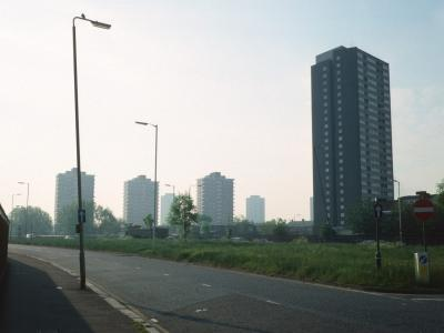 View of Ferrier Point with 15-storey blocks on Beckton Road in background