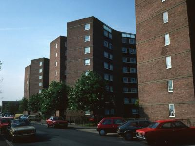 View of three 8-storey blocks on Boleyn Road