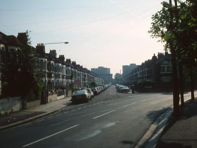 View of Gaitskell House (on right) and 184 Heigham Road (on left) from Katherine Road