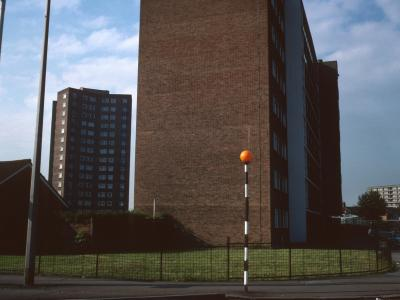 View of Massey Court in centre with Austin Court in background