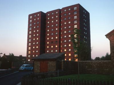 View of 13-storey block on Caxon Drive