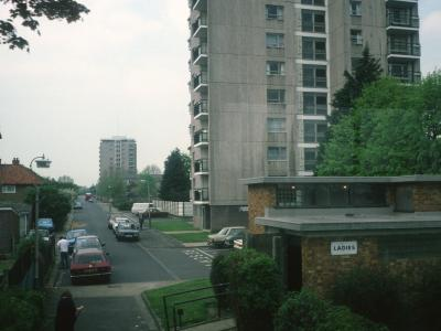 View of Harding House and Sutcliffe House on Addison Way