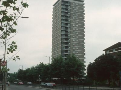 View of 21-storey block on Dickens Estate