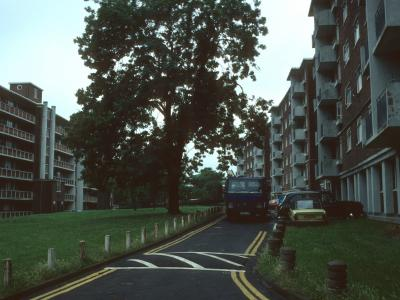 View of Byron Court on left of photo and Campbell Court and Gelnnie Court on right