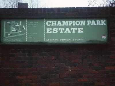 Map and signage for Champion Park Estate