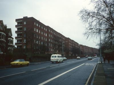 View of Torrens Court and Cross Court looking South down Denmark Hill