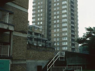 View of 17-storey element of Tissington Court from Millender Walk