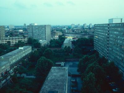 View of 12-storey blocks in Heygate Street development
