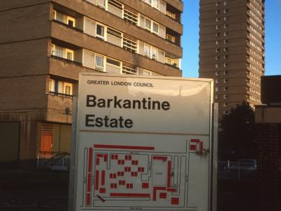 Barkantine Estate map with two 22-storey blocks in background