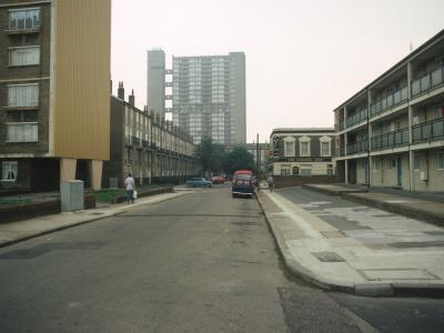 View down Brownfield Street with Langdon House on left and Balfron Tower in background
