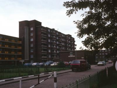 View of Jarman House (7-storey block) from Jubilee Street