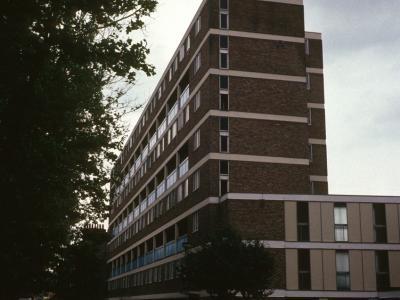 View of 8-storey block looking East down Mile End Road
