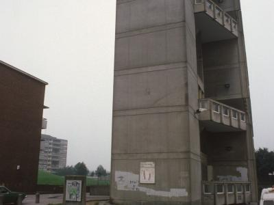 View of corner of 10-storey block from Woolmore Street