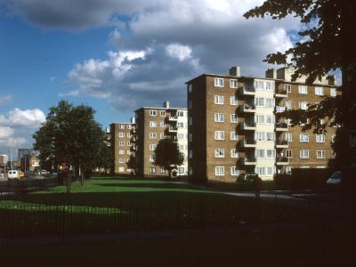 View of 6-storey blocks in Ocean Estate from Mile End Road