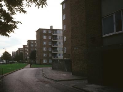 View of 6-storey blocks with Biscay house in foreground