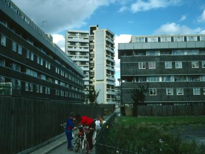 View of Keeling House with 6-storey blocks in foreground