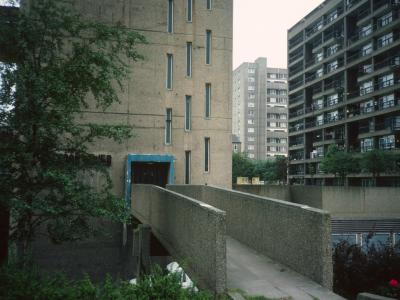 View of Carradale House (right) with North side of Balfron Tower in foreground and Glenkerry House in background