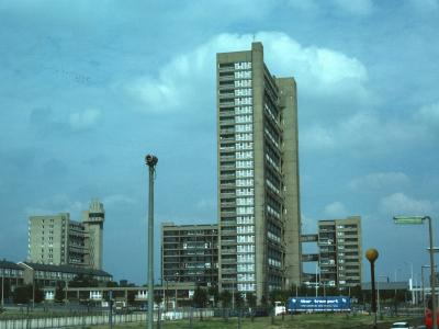 View of Balfron Tower from South with Carradale House behind and Glenkerry House on right of background