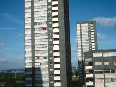 View of 22-storey and 7-storey blocks on Chingford Hall Estate