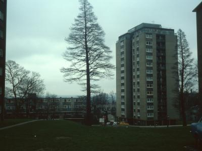 View of 14-storey block on Edgecombe Hall Estate