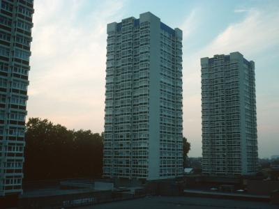 View of all three 21-storey blocks with Knowles House on left, Edwyn House in centre, and Albon House on right of photo