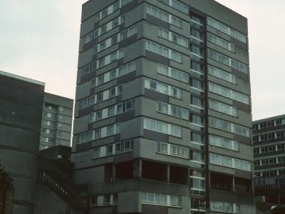 View of 13-storey block on Stonebridge Estate