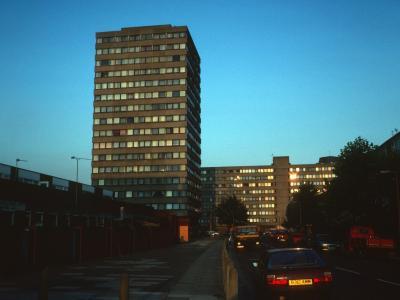 View of 17-storey and 9-storey blocks on York Road development
