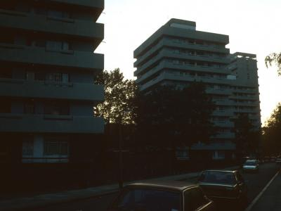 View of 11-storey blocks on Winstanley Estate
