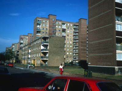 View of 10-storey and 11-storey blocks on Battersea Park Road development