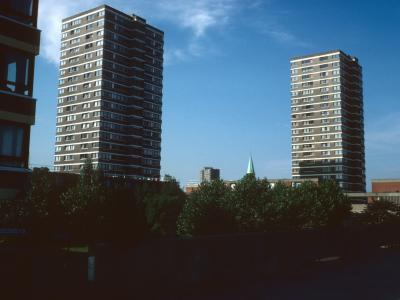 View of 21-storey blocks on Surrey Lane Estate