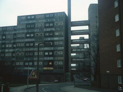 (1)View of 13-storey block on Doddington Estate