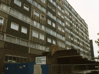 View of 13-storey block on Doddington Estate