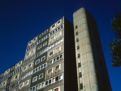 View of 13-storey block on Doddington Estate