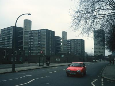 General view of Doddington Estate from Battersea Park Road with Jay Court in background