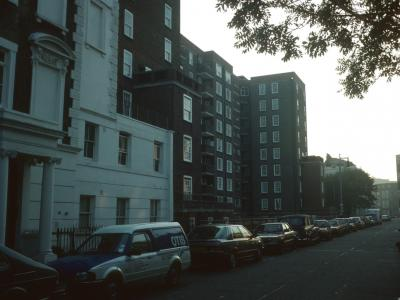 View of Russell House from Alderney Street
