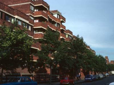 View of 9-storey bloc on Lillington Street Estate