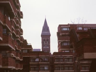 View of South section of Lillington Street Estate with St James the Less Church in background